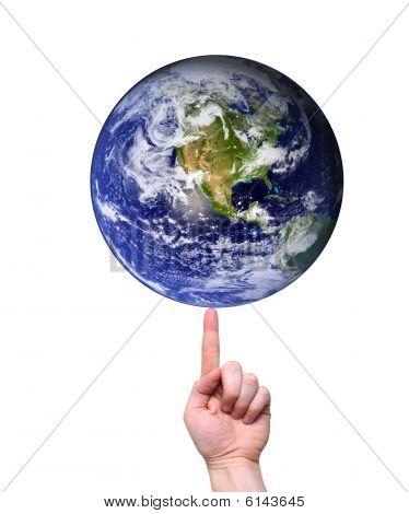 Hand Balancing Earth On Fingertip