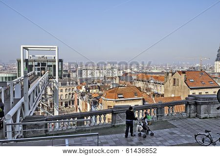 Brussels, Belgium-march 14:  Day Smog Alert On Belgium, View Of The City Of Brussels And The Marolle