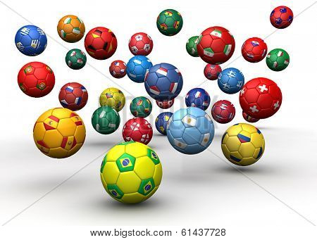 Country flag soccer balls 3d illustration