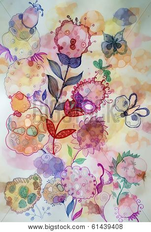 Abstract Bright Flowers And Butterflies