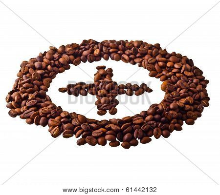 Sight 'Plus' in circle from Coffee beans