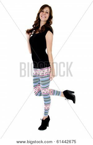 Pretty Female Model Colorful Leggings Black High Heels