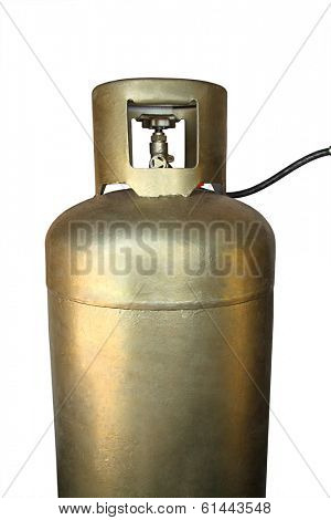 Golden tank with LPG - Liquefied Petroleum Gas - Isolated on white background
