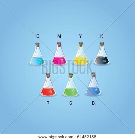 cmyk and rgb flasks vector illustration