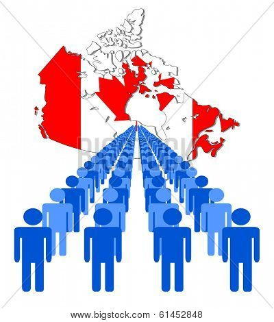 Lines of people with Canada map flag vector illustration