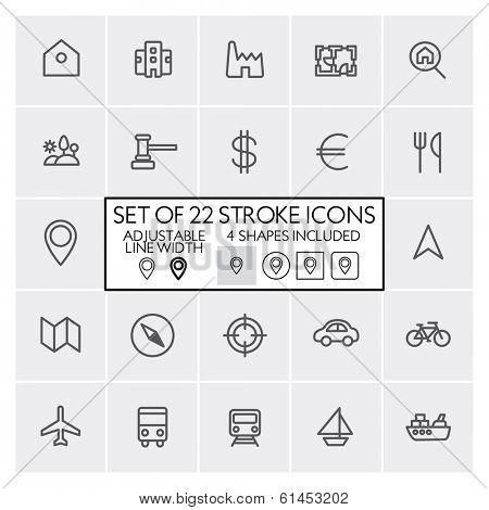 Stroke design icons set 6 / Real estate + navigation + transportation + etc. / Adjustable line width + 4 button shapes included / Check out the other parts of set