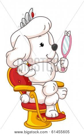 Illustration Featuring a Cute Poodle Gazing at its Reflection in the Mirror/
