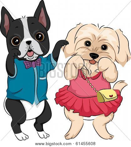Illustration Featuring Cute Dogs Wearing Fashionable Clothes and Accessories