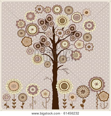 Floral Card With Abstract Tree And Flowers