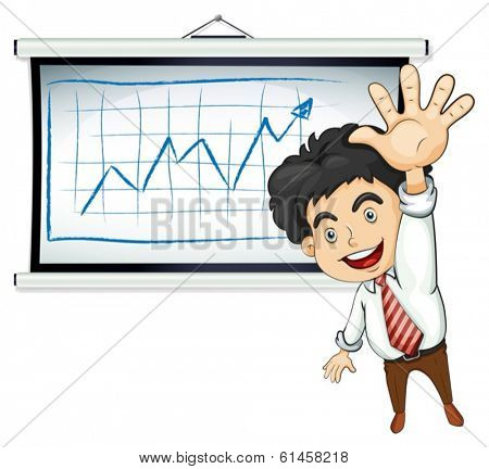 Illustration of a happy businessman in front of the bulletin board on a white background