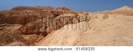 Mountains and canyon in stone desert
