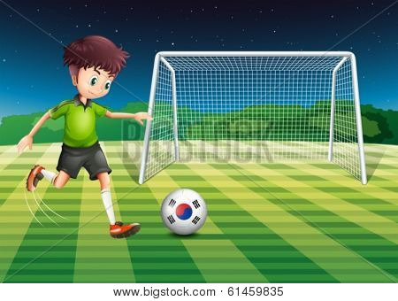 Illustration of a boy kicking the ball with the South Korean flag