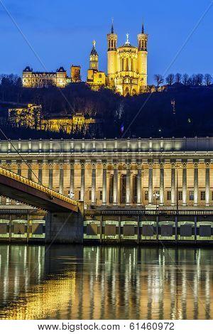 Saone River At Lyon By Night