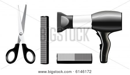 Vecrtor set of combs and scissors, hairstyle accessories