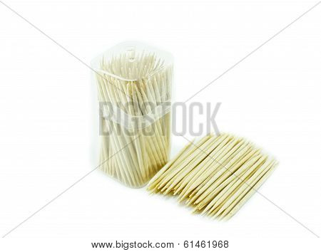 Bamboo Toothpick On White