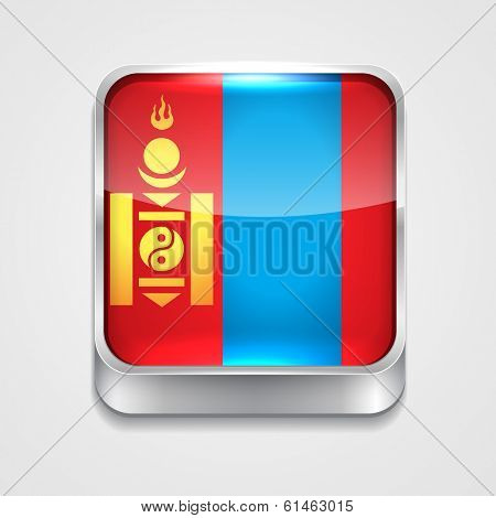 vector 3d style flag icon of Mongolia