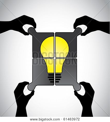 teamwork idea jigsaw puzzle human hands working together concept
