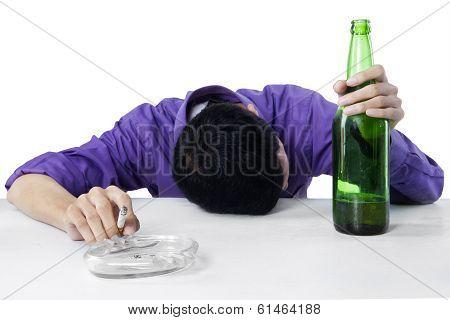 Drunk Man Holding Cigarette And Bottle Of Beer