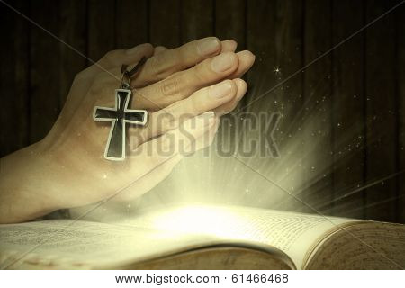 Magical Light Bible And Prayer Hands