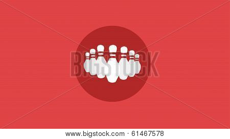 Bowling Ten Pin Red Background