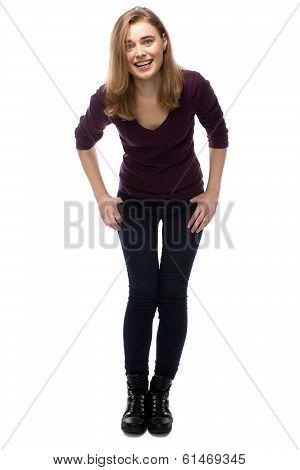 Vivacious Young Woman Laughing At The Camera