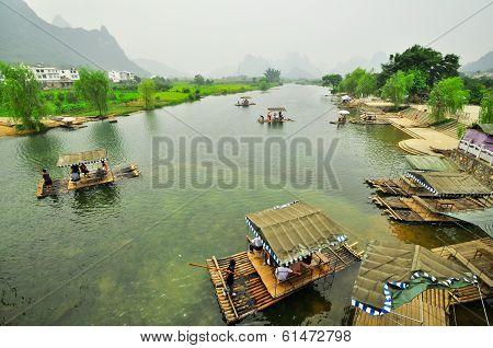 Guilin Li River Karst Mountain Landscape In Yangshuo