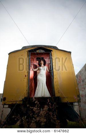 Bride on a train