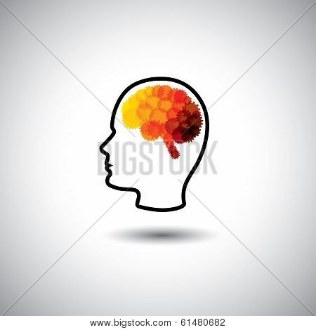 Vector Concept - Human Face & Brain With Gears & Cogs
