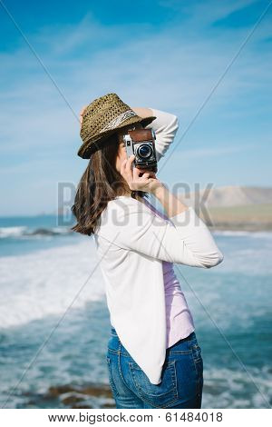 Funky Woman Taking Photo On Travel