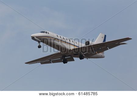 Cessna 680 business aircraft on the blue sky background