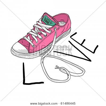 fashion sketch illustration shoes with love type