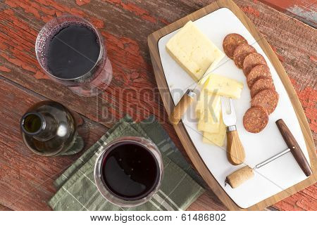 Red Wine With Harvati Cheese And Spicy Sausage