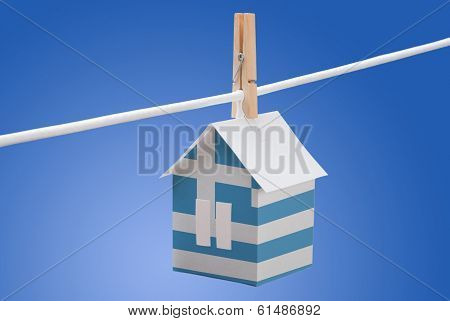 Greek flag printed on paper house