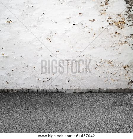 Empty Grunge Urban Interior Background. Old White Wall, Asphalt