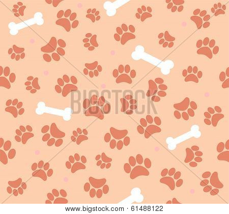 background animal footprints and bones. vector illustration