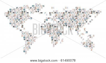 World map of many different medical elements with a doctors working in hospital. Global medicine and international pharmaceutical business concept.