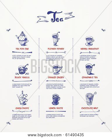 Tea menu. Blue pen drawing