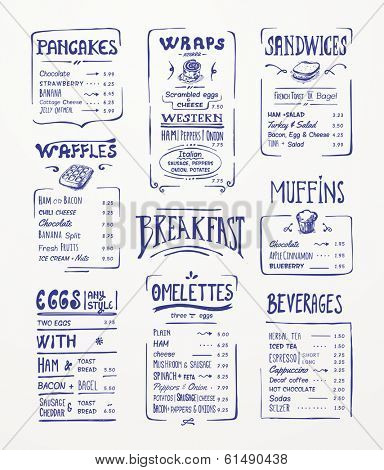 Breakfast menu. Blue pen drawing