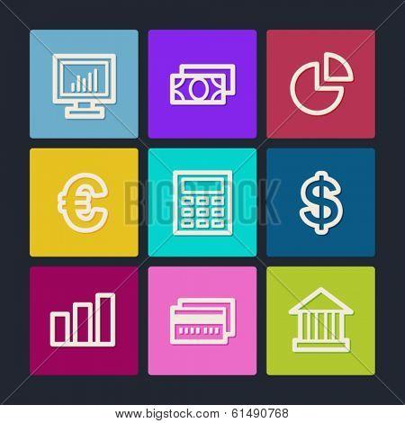 Finance web icons set 1, color buttons
