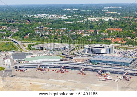 Aerial Of Aircraft At The Gate In Terminal 2, Hamburg