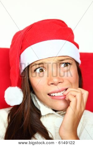 Nervous Christmas Woman With Stress
