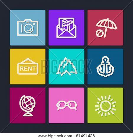 Travel  web icons set 5, color buttons