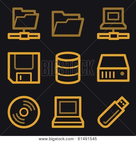 Drive storage web icons, gold line set