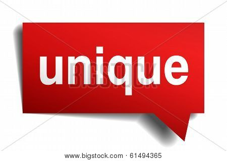 Unique Red 3D Realistic Paper Speech Bubble Isolated On White