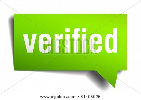 Verified Green 3D Realistic Paper Speech Bubble Isolated On White