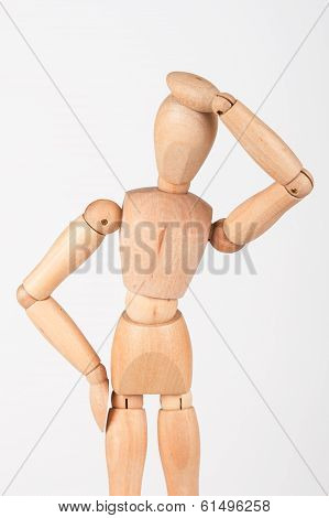 Plain Wood Mannequin Stand Upright Isolated On White Holding Head