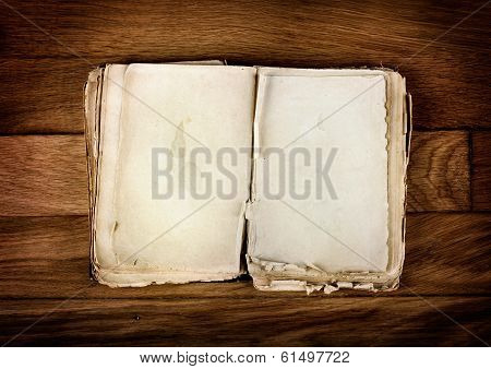 Open Old Book With Blank Pages For Text On Vintage Wooden Table