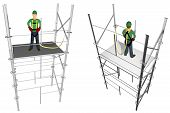 stock photo of harness  - A 3D view of a worker in a scaffold back and front - JPG