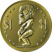 foto of maori  - Money gold coin Cook Islands Dollar depicting the Maori god of sea elements Tangaroa - JPG