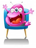 Illustration of a blue TV with a pink monster on a white background